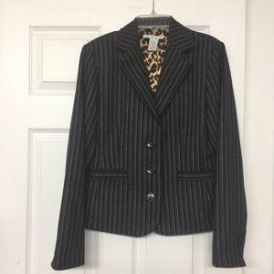 CAbi navy pinstriped blazer animal print lining